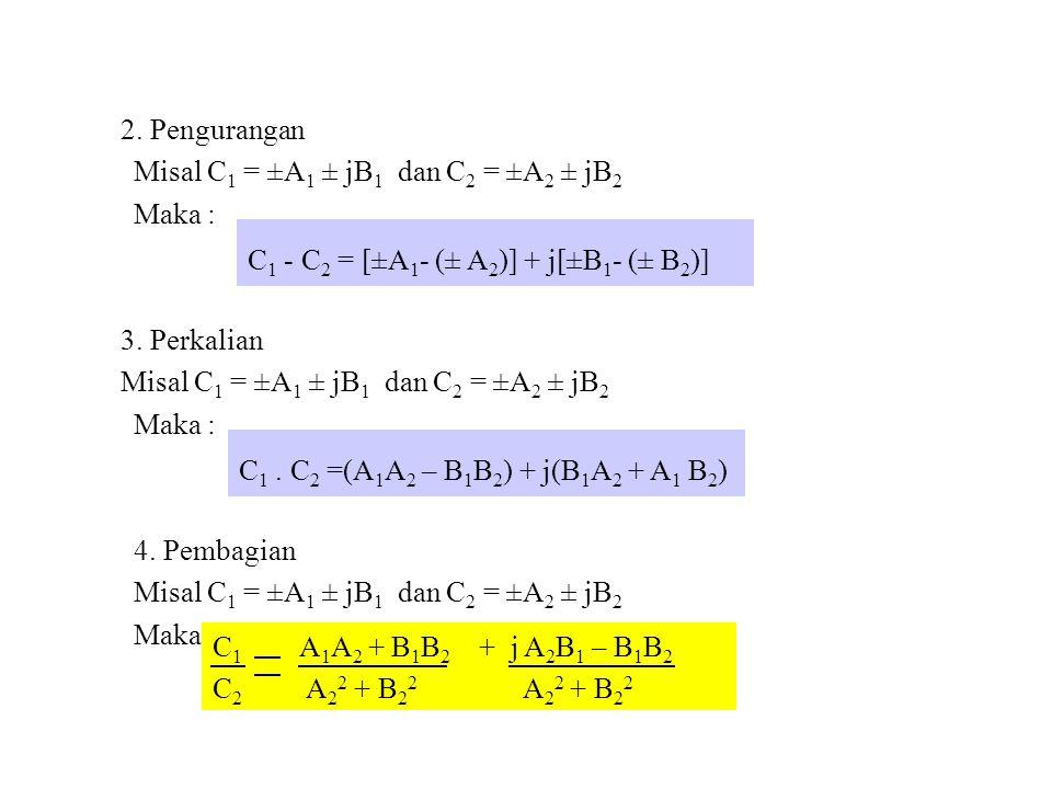 2. Pengurangan Misal C1 = ±A1 ± jB1 dan C2 = ±A2 ± jB2. Maka : 3. Perkalian. 4. Pembagian. C1 - C2 = [±A1- (± A2)] + j[±B1- (± B2)]
